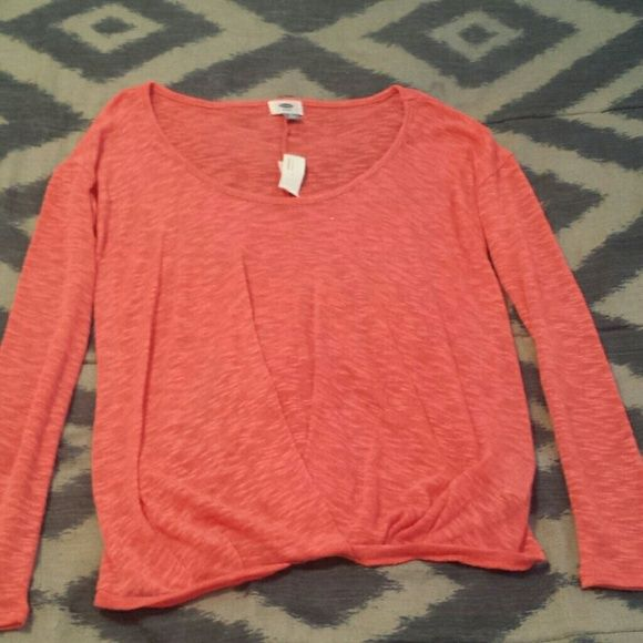 Coral Sheer t-shirt Brand new with tags. It's a sheer top so make sure to wear a cami underneath. It's lightweight. Color is true to first picture. Old Navy Tops Tees - Long Sleeve