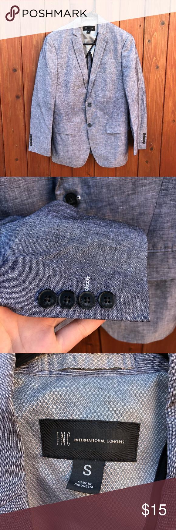 INC International Concepts Gray Blazer/Sports Coat Shell