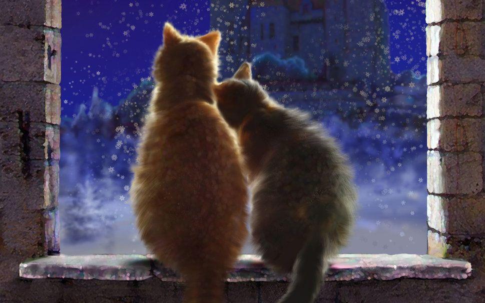 Sanat, kedi, çift, aşk, kış, pencere pervazına, kale, gece, kar taneleri vektör