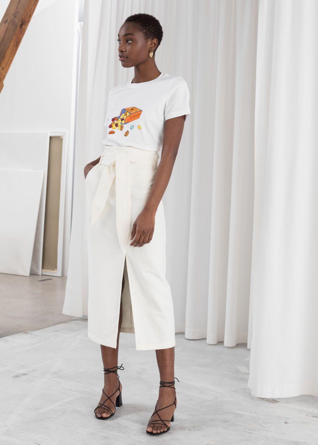 2b4a06bf3c7c70 Linen Blend Paperbag Waist Midi Skirt - White - Midi skirts - & Other  Stories