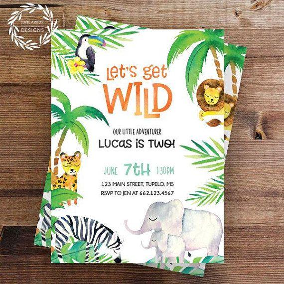 Jungle Birthday Invitation Let S Get Wild Wild One Safari