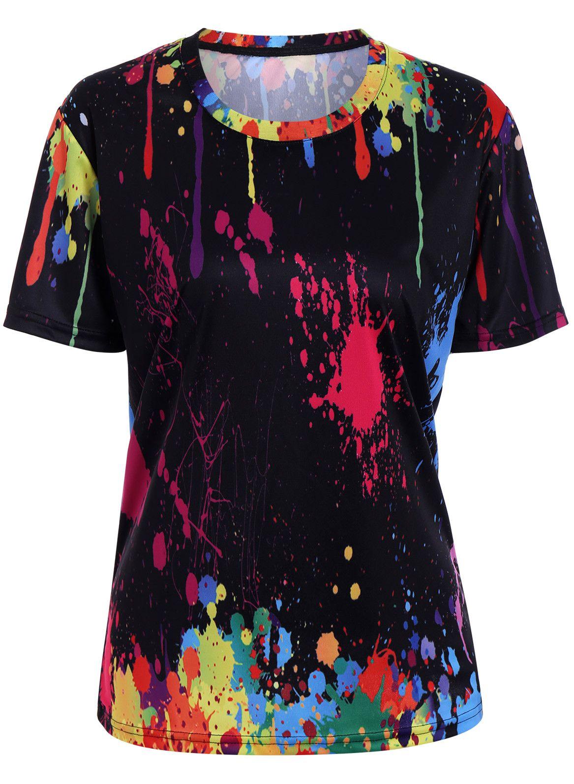 0810b37f Crew Neck Colorful Splatter Paint Print T-Shirt. $12.05 Splatter Paint Tee  - Black