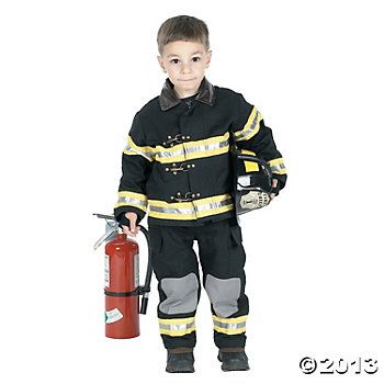 0685bea0 Fire Fighter Uniform With Black Hat Kid's Costume | Vintage Toy ...