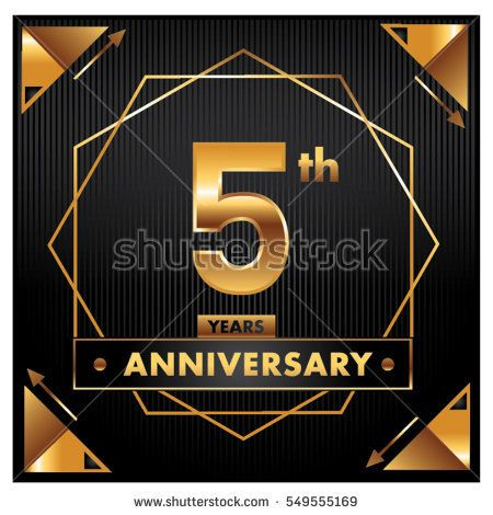5 Years Golden Anniversary Logo Celebration With Ring And Ribbon