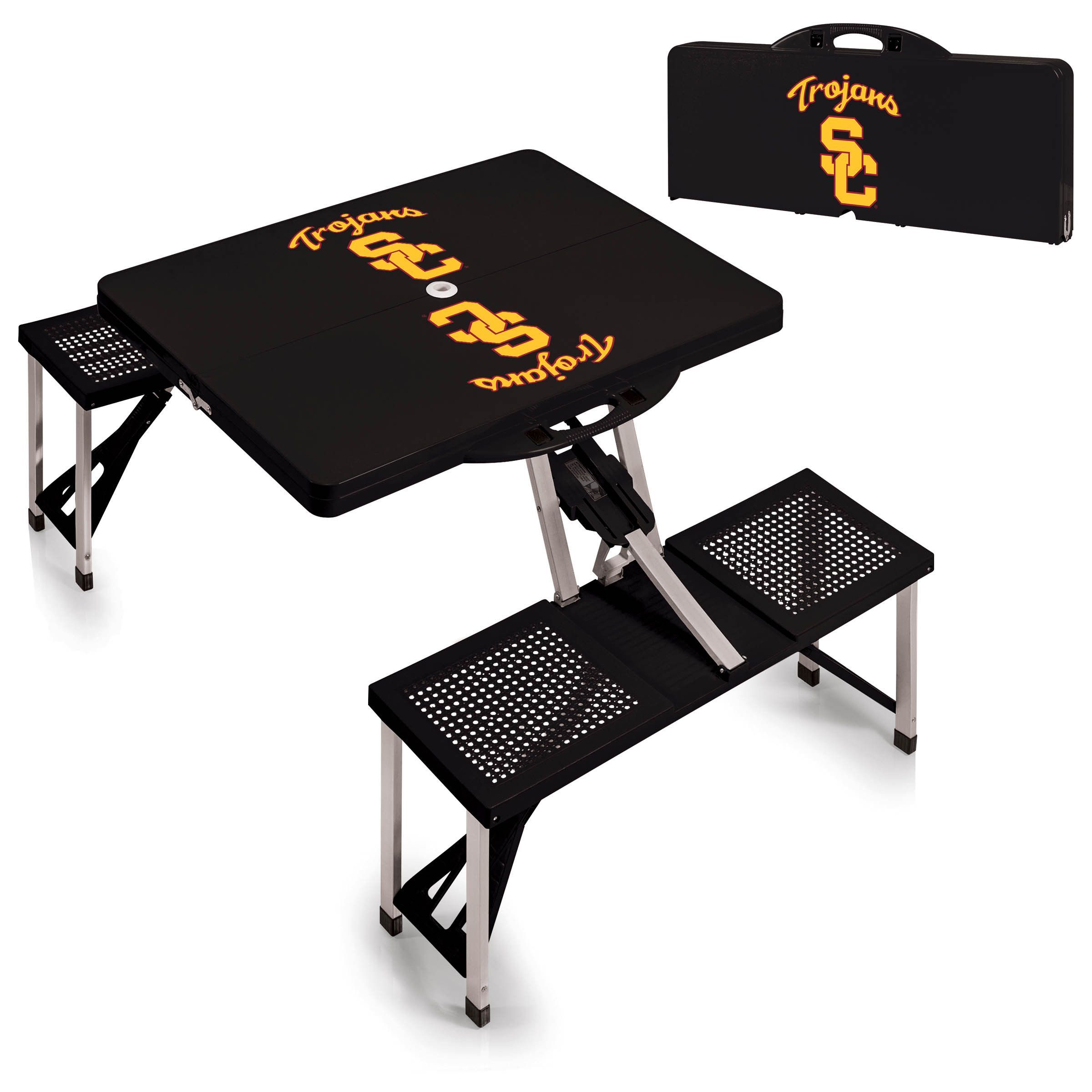 USC Trojans Black Portable Picnic Table