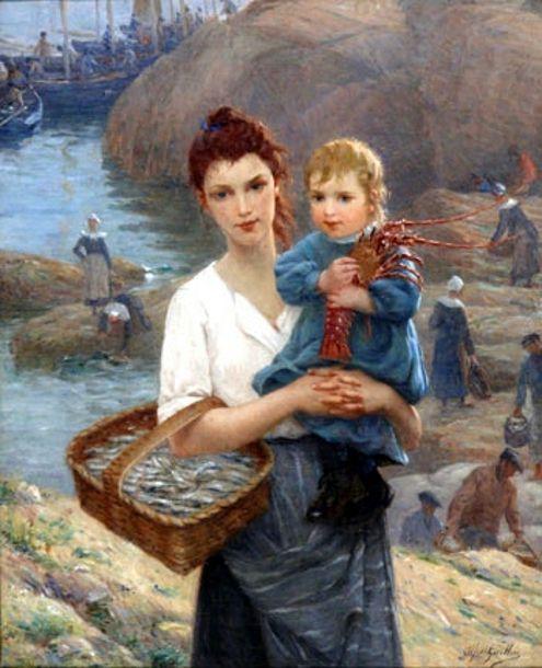 Jeune Bretonne, sa petite fille et la langouste-Alfred Guillou (1844 – 1926, French)