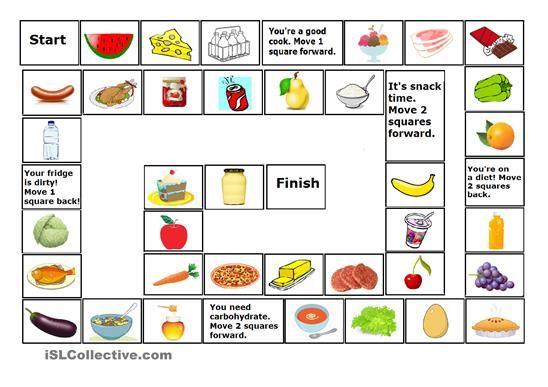 Food Game 2 Food Game Corrected Game Food Printable Board Games French Teaching Resources Esl food worksheets kindergarten