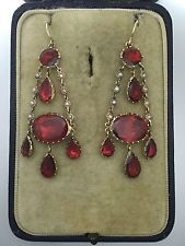 A Stunning Pair Of Georgian Garnet & Pearl Earrings Circa 1800's
