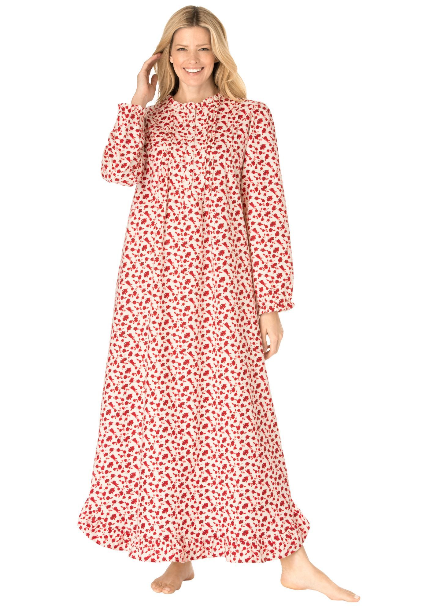 Cotton Flannel Print Gown by Only Necessities® | Plus Size ...