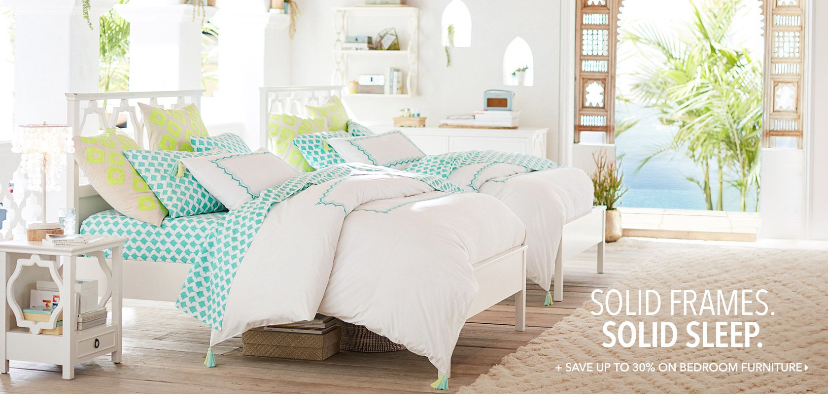 Blue green colors for bedding.