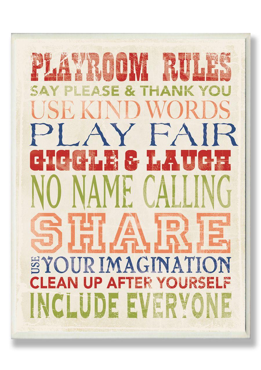 Play room rules! Cuando tenga una casa, lo pondré en el cuarto de juegos!