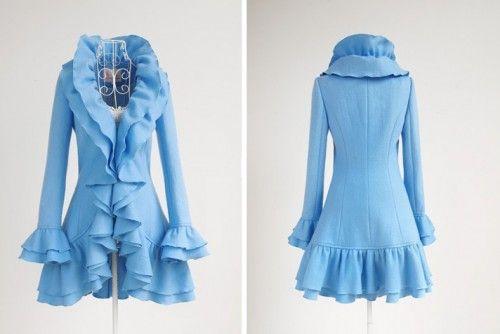 blue ladies wool coat