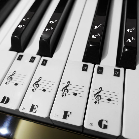 88 KEY transparent Keyboard Piano stave Stickers for 36