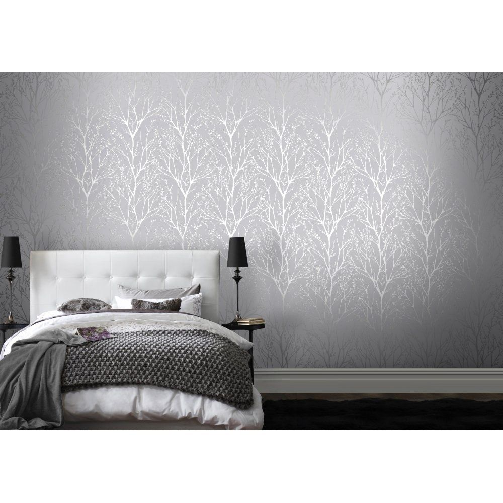 Shimmer Tree Wallpaper Soft Grey Silver Living room grey