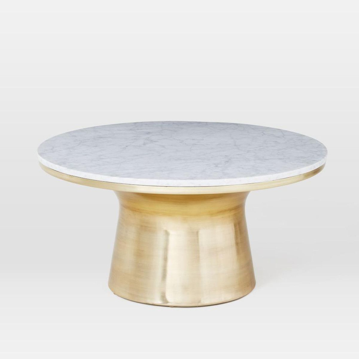 - Marble-Topped Pedestal Coffee Table - White Marble/Antique Brass
