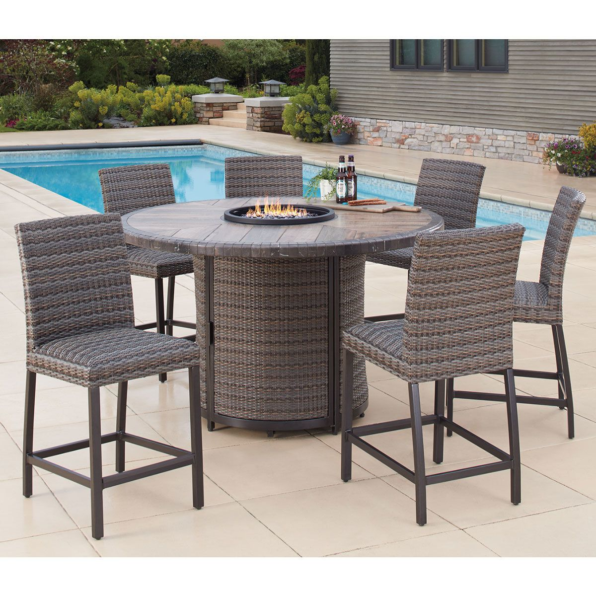 Agio Eastport 7 Piece Bar Height Fire Chat Set + Cover