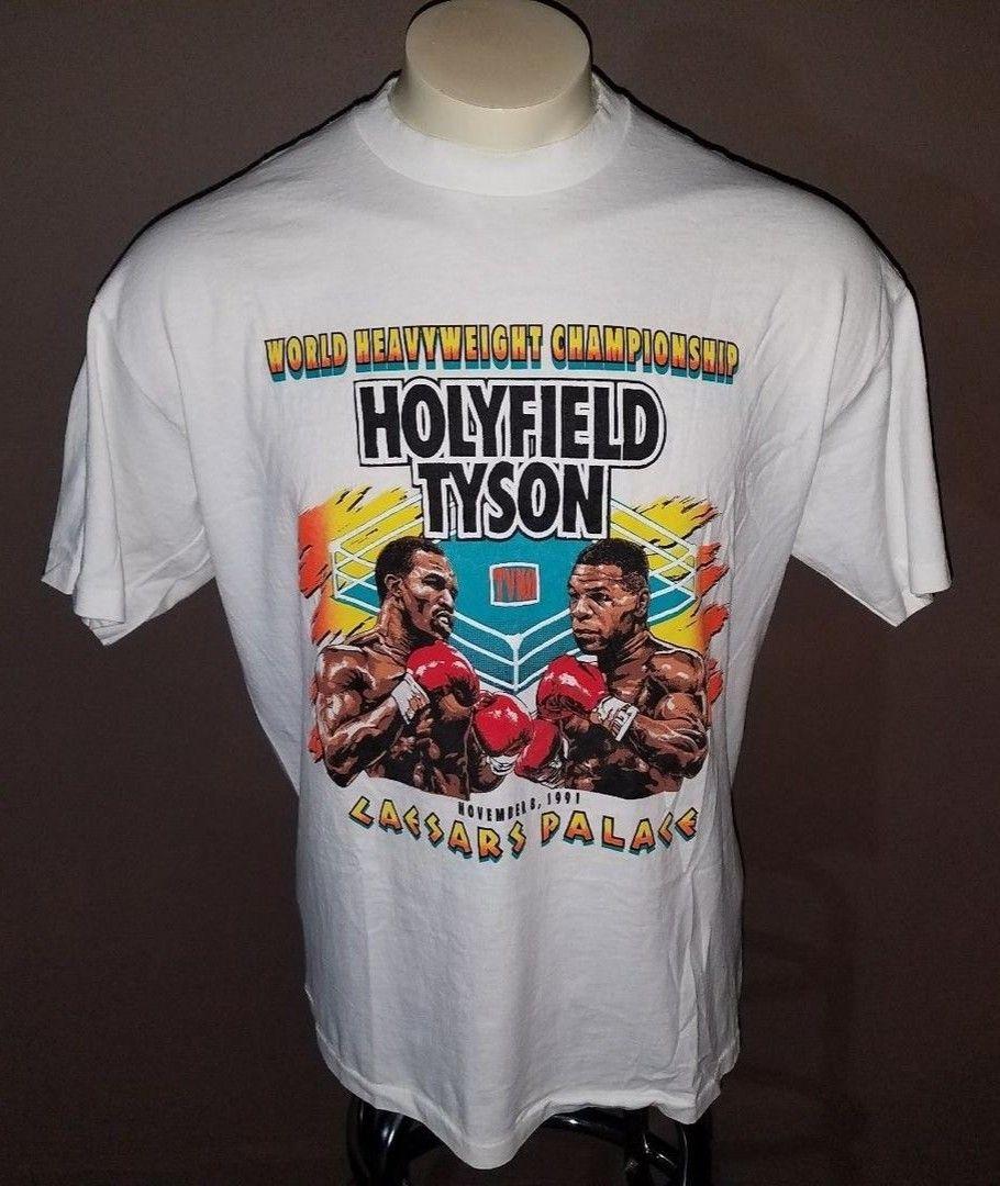 EVANDER HOLYFIELD VS MIKE TYSON BOXING TSHIRT memorabilia fashion boxing fan tko