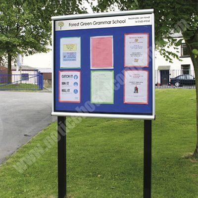 External notice board personalised with school name and logo
