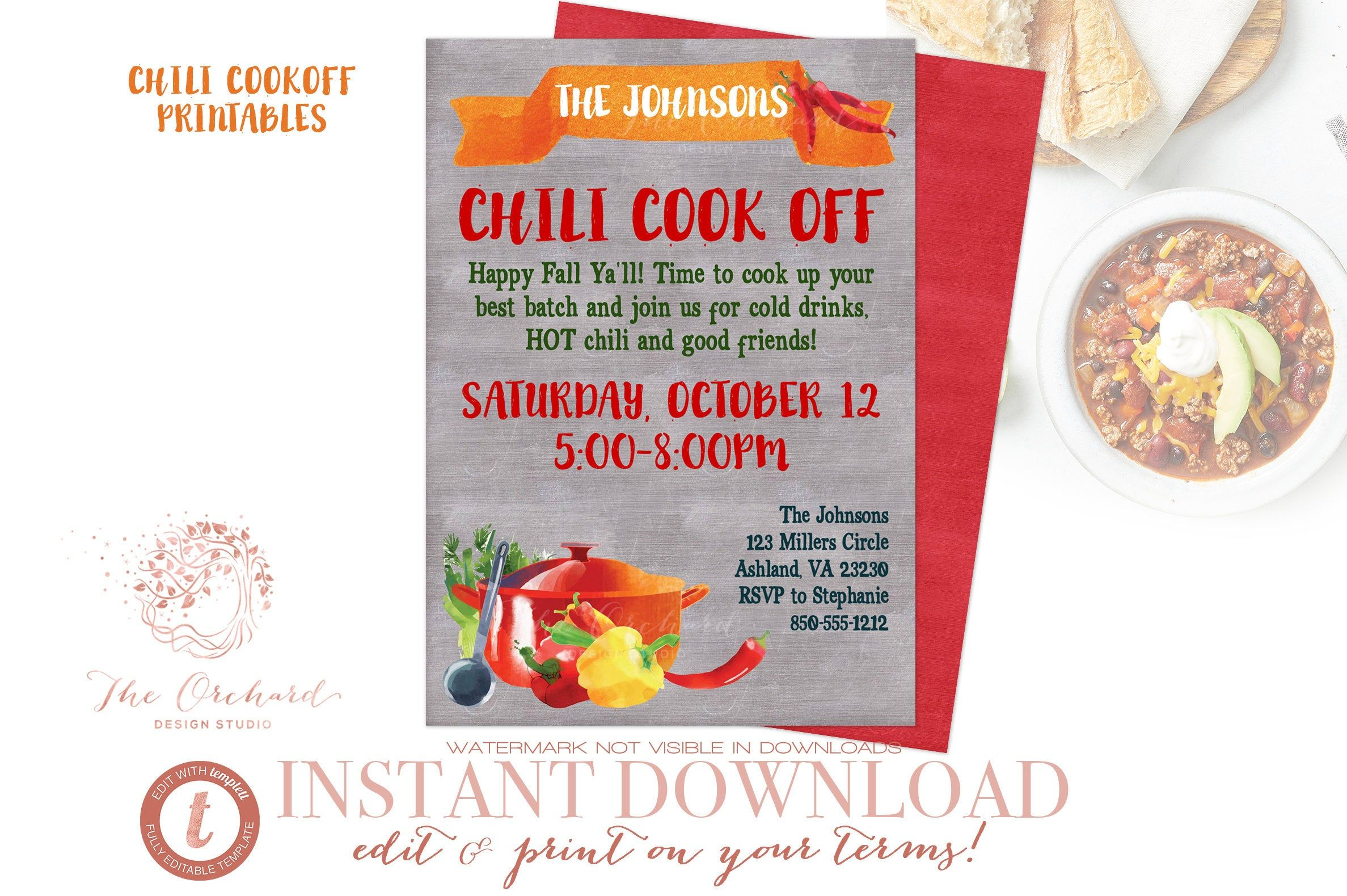 Chili Cook Off Invitation And Flyer Instant Editable Download Chili Cookoff Fall Chalkboard Template Church School Chili Cook Off Cook Off Fall Chalkboard