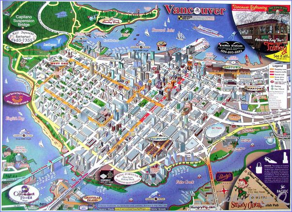 cool Vancouver Map Tourist Attractions Holidaymapq Pinterest