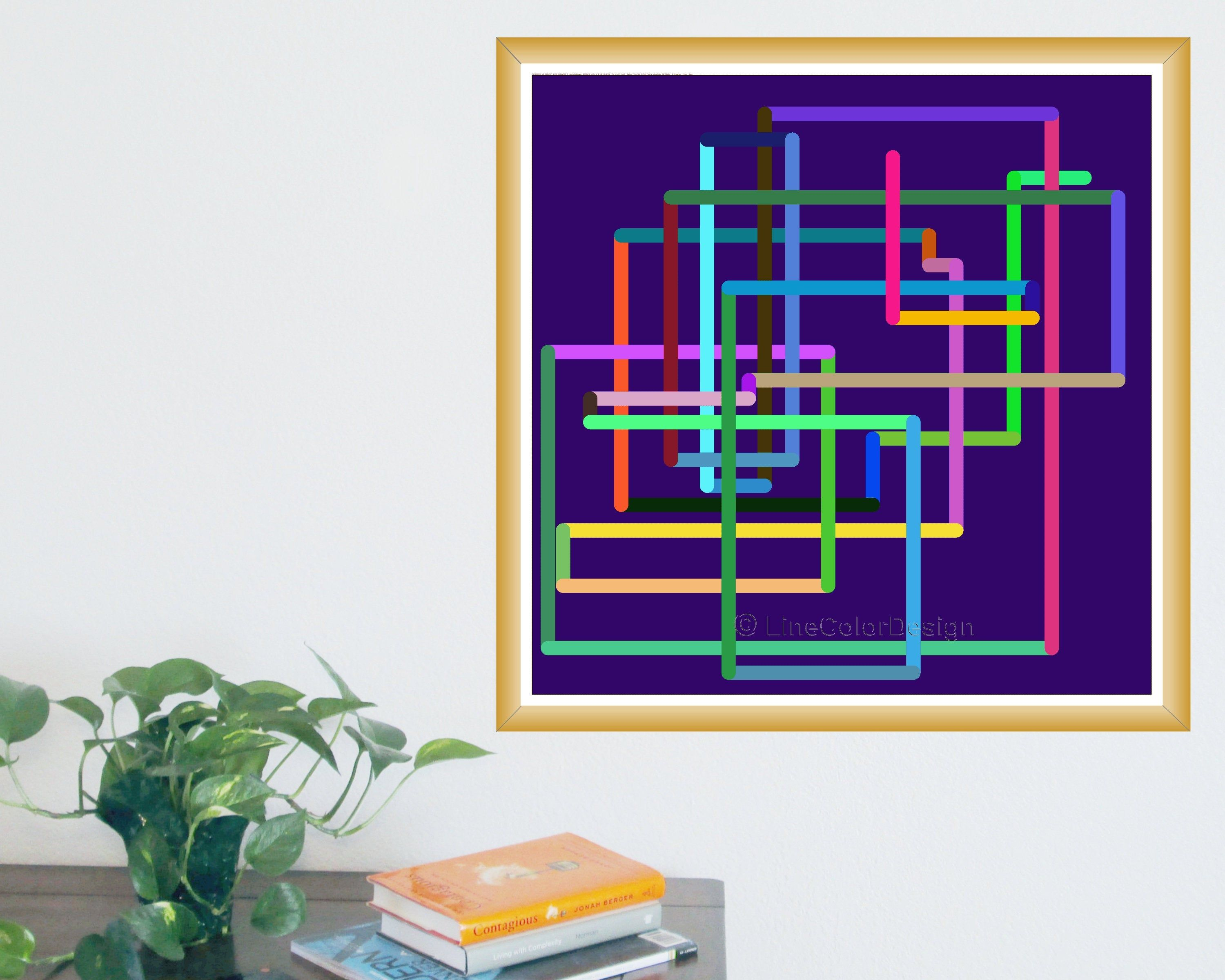Geometric Wall Art Print 24x24 Continuous Color Network Etsy Geometric Wall Art Wall Art Prints Geometric Wall