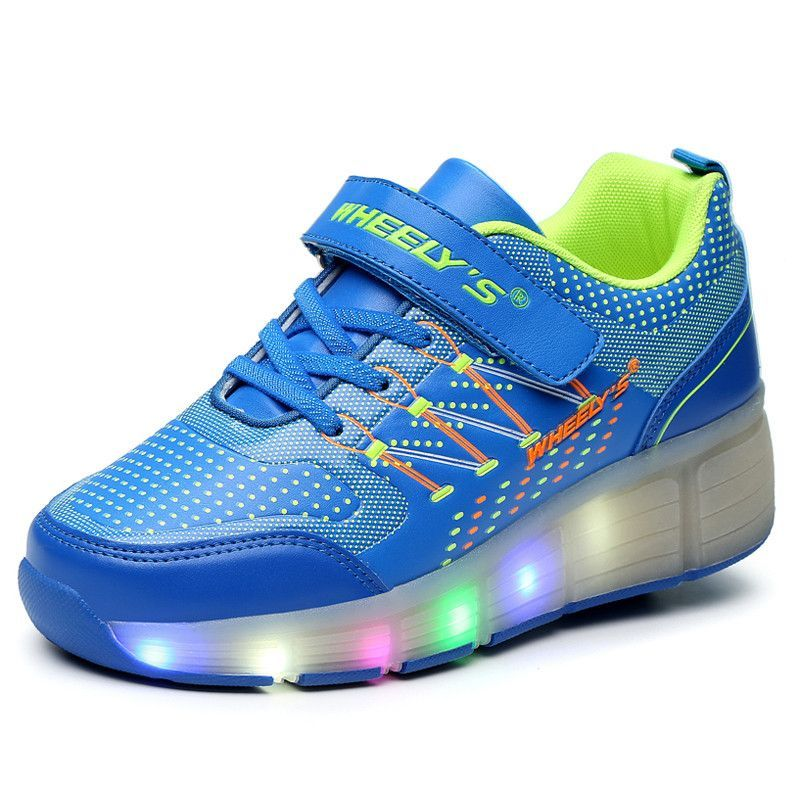 New Wheely's Children Roller Shoes Boy & Girl Automatic LED