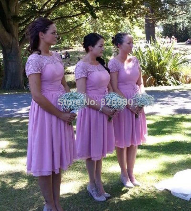 Click to Buy << 2017 Lilac Chiffon Bridesmaid Dresses Beach Cap ...