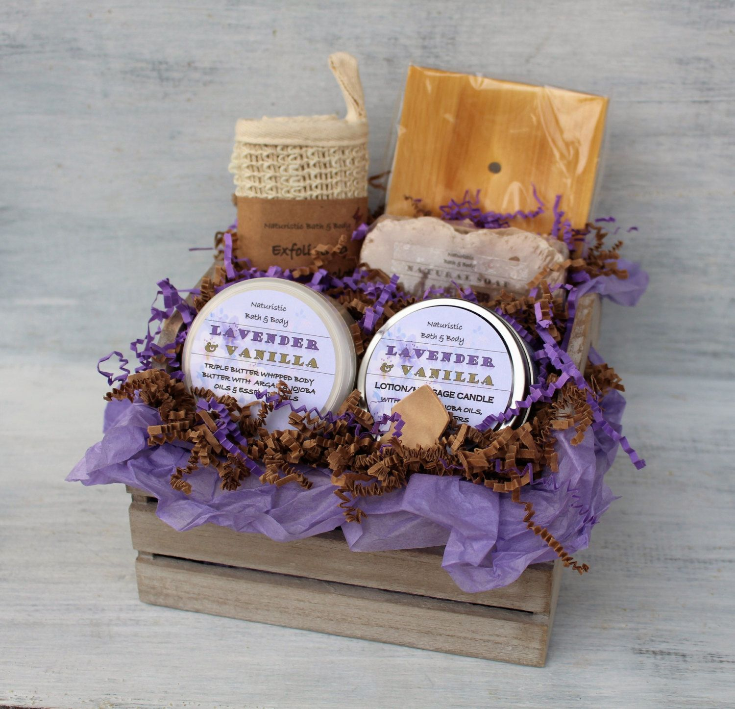 Handmade Soap Baskets : Lavender vanilla bath body gift basket spa set