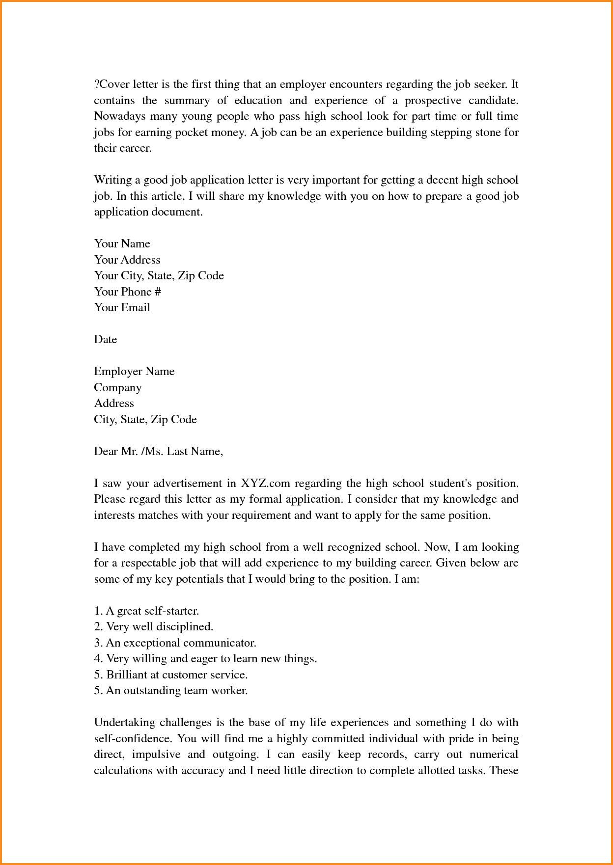 Cover Letter Template For High School Students Coverlettertemplate