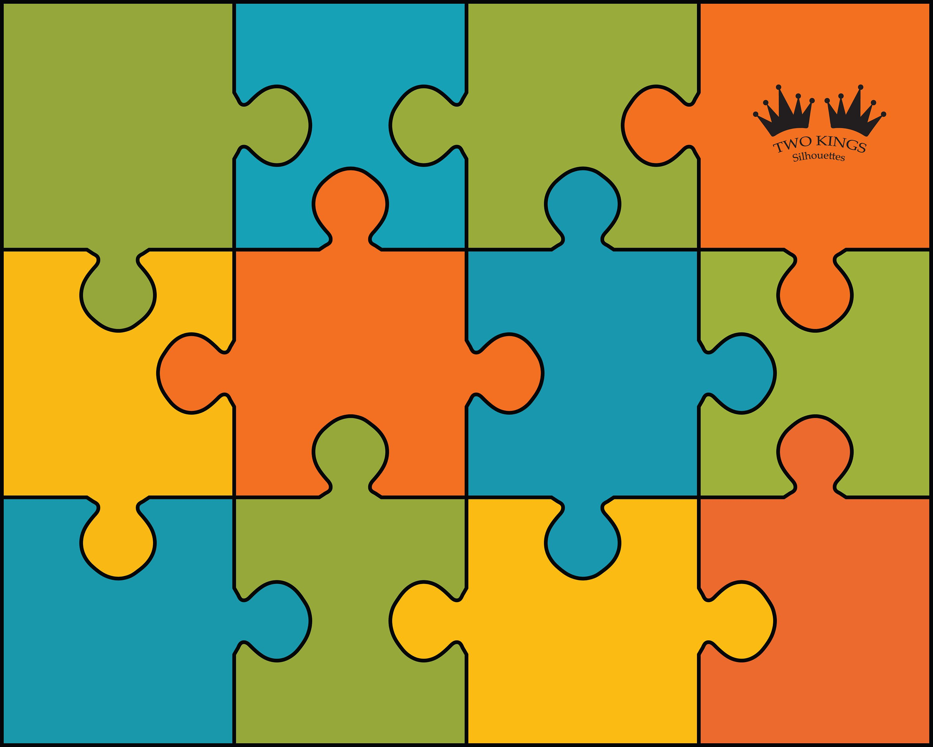 4 colors puzzle design, Instant download Svg, Dxf, Png