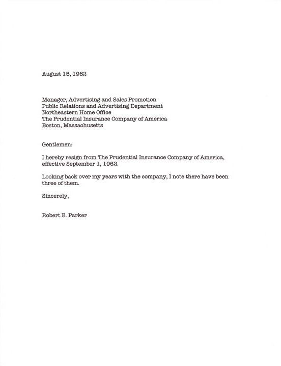 Possibly The Best Resignation Letter Ever  Robert B Parker  I