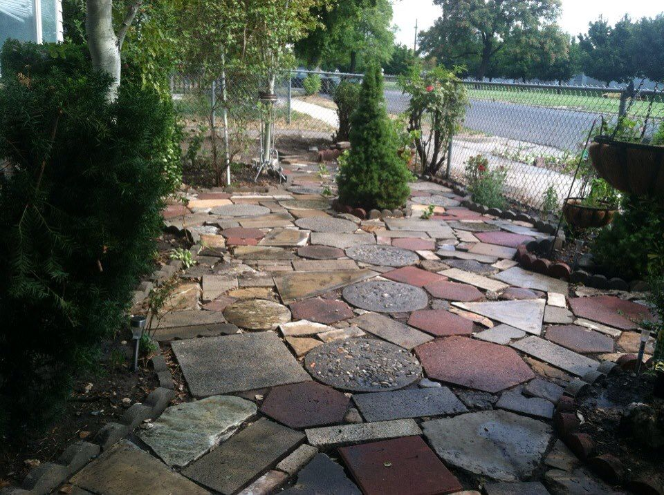 Patio I Built From Discarded Stepping Stones Rocks Concrete Pieces Granite Counter Ss