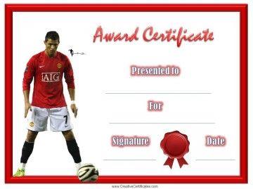 Soccer Award Certificate  Soccer Award Certificate