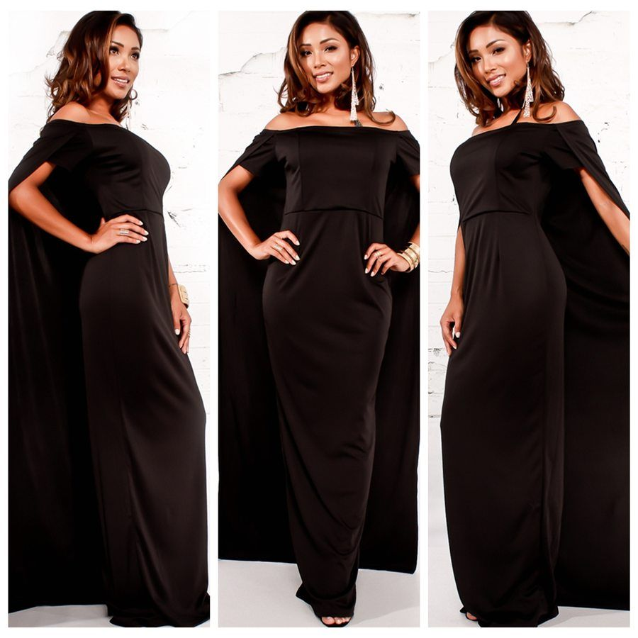 Elegant women classic evening party dress off shoulder short sleeve