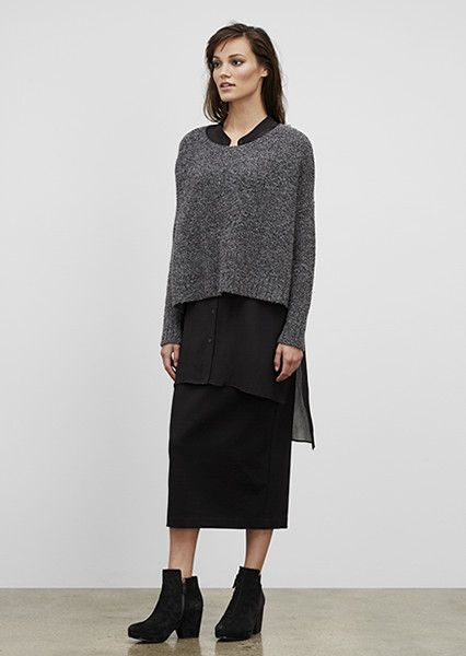 59eb97ed24fa61 EILEEN FISHER New Arrivals: Cashmere Melange Box-Top, Ponte Pencil Skirt +  Bluff Wedge Bootie