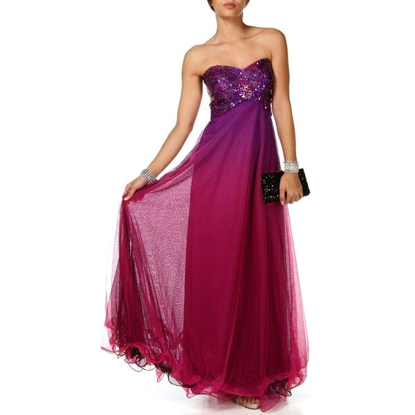 Blondie Nites Ellina-Long Prom Gown ($200) ❤ liked on Polyvore featuring dresses, gowns, robe, purple, purple cocktail dresses, long prom gowns, evening dresses, prom dresses and long evening gowns