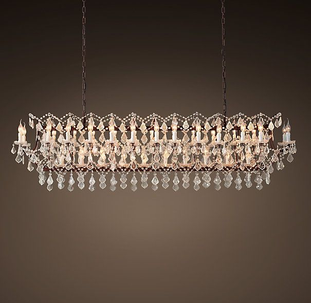 19th C Rococo Iron Clear Crystal 7325 Rectangular Chandelier