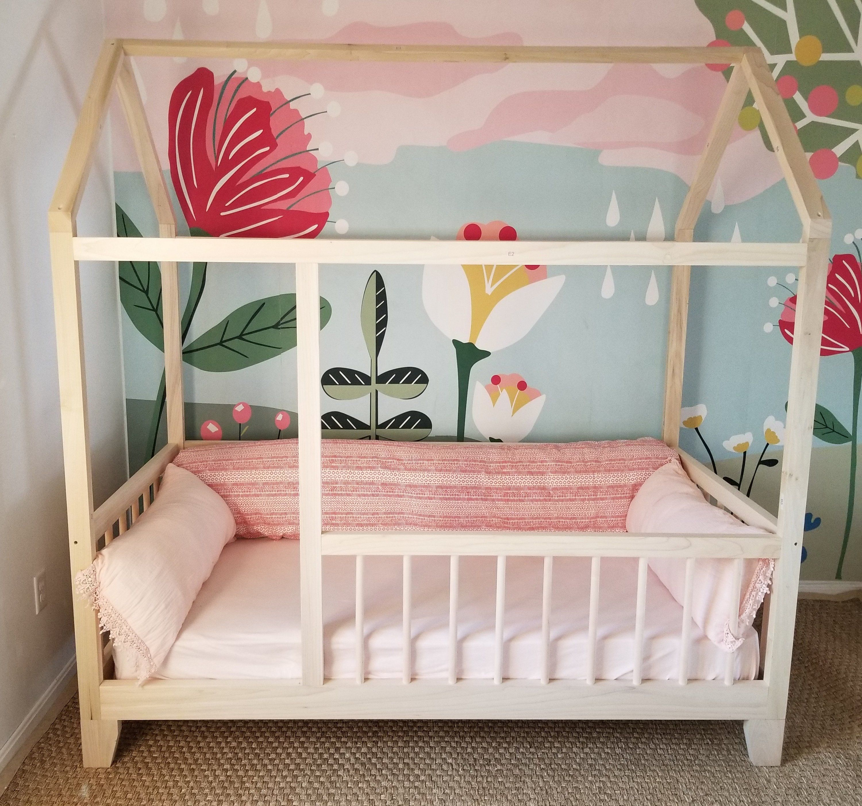 Raised Four Rail Hardwood Montessori Twin Full Toddler House Bed