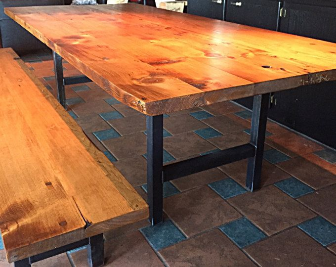 Our Reclaimed Douglas Fir Dining Table With H Style Steel Legs Table Is Handcrafted From Dining Table Wood Dining Table Reclaimed Wood Dining Table