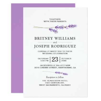 Lavender Lilac Floral Chic Wedding Card Chic wedding Wedding card