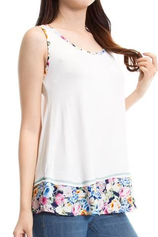 FLORAL TRIM DETAIL SLEEVELESS TOP