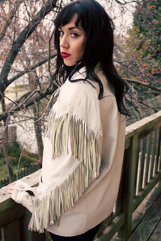Vintage Fringed White Leather Jacket Size Large. 150.00