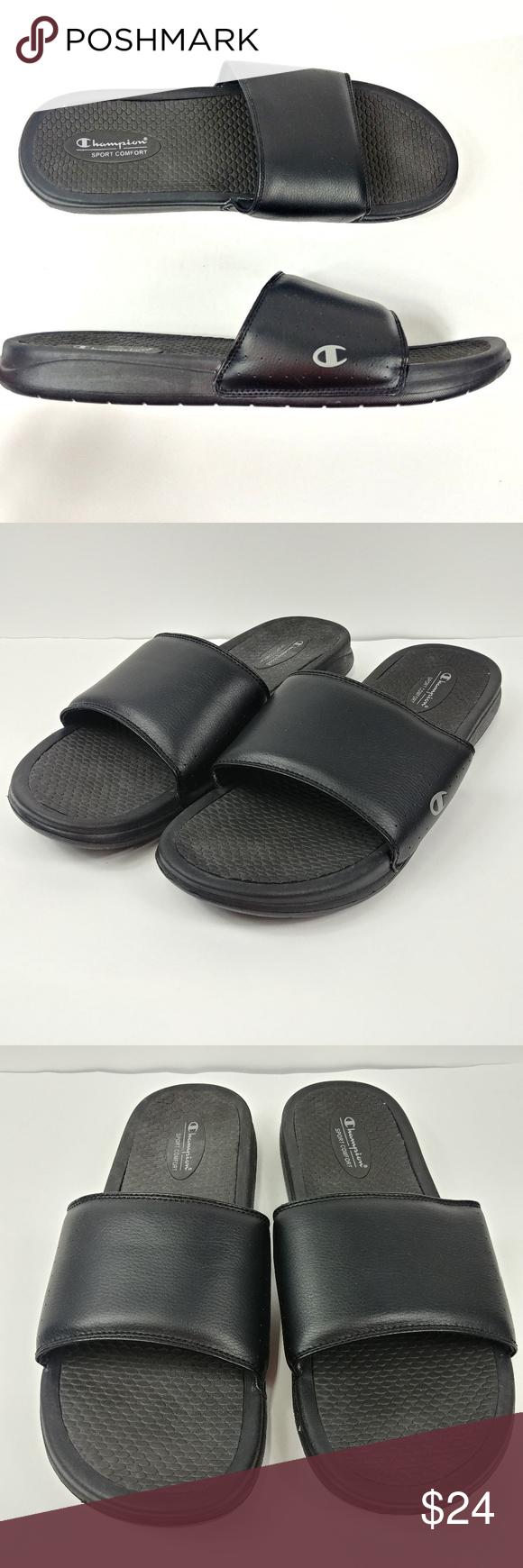 88b2272dbf8 Champion Mens Slides Sandals Flip Flops Sz 14 Champion Mens Slides Sandals  Flip Flops Sz 14 Black Gray Solid Sport Comfort C C14 19  P  3.48  L43   19-18 ...
