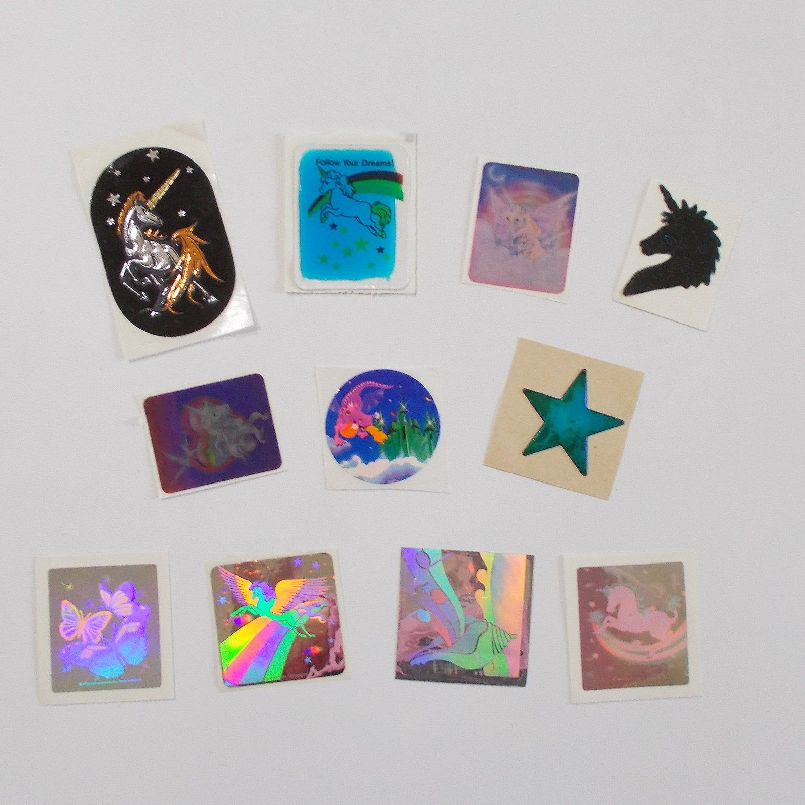 Lot of Vintage Stickers HOLOGRAM Animals Space Ship Bunny  VTG 80s 90s