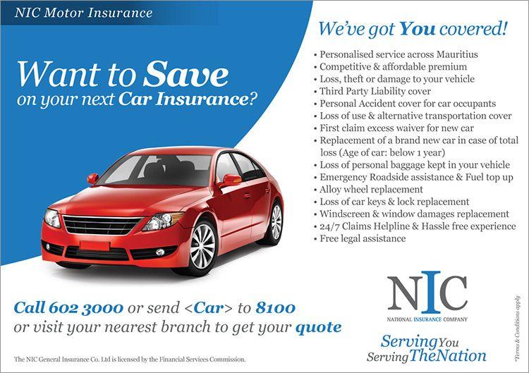Nic Mauritius Nic Motor Insurance Tel 602 3000 Insurance Car Insurance Mauritius