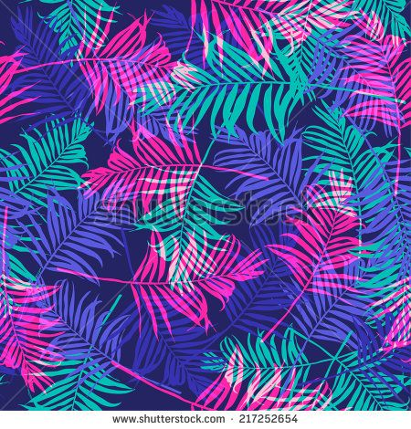 Tropical Palm Leaf Pattern Neon Colored