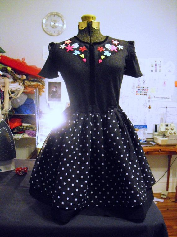 Retro Cowgirl Dress black and gray with colorful by deconstructika