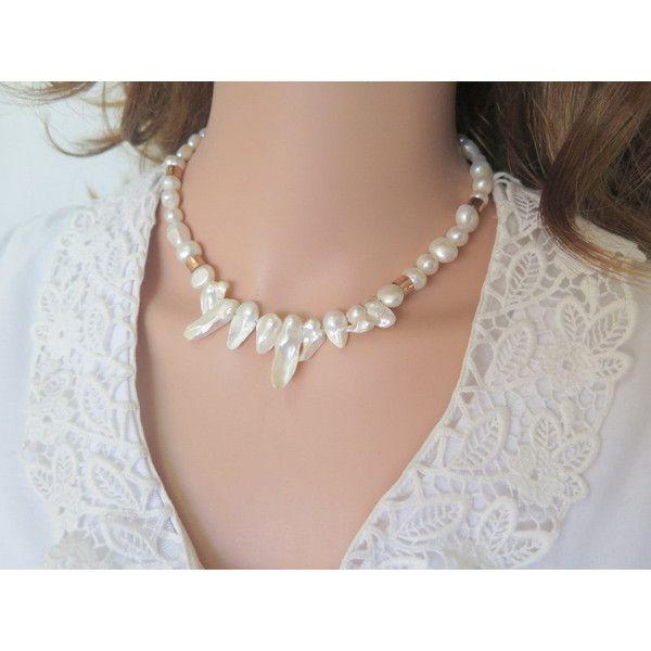 Elegant Pearl Necklace Chunky Wedding Modern 43