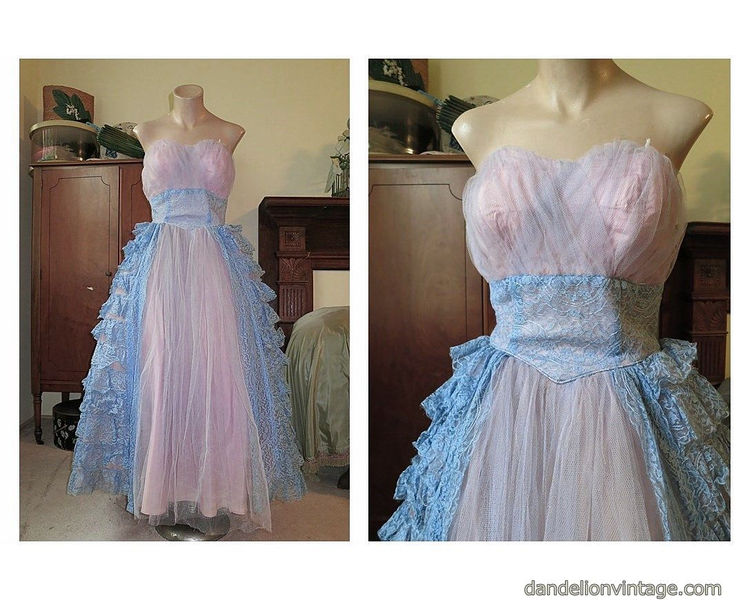 Vintage blue and pink strapless tulle and lace prom dress era late