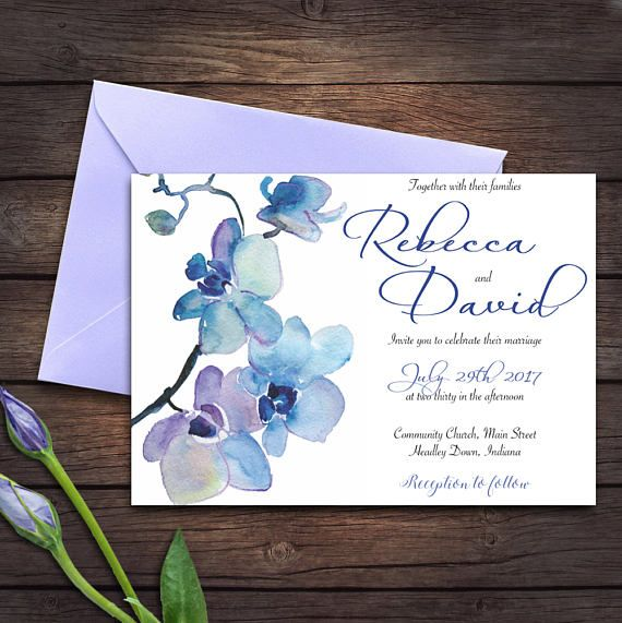 Wedding Invitation Blue Orchid Invitation Edit Yourself - Wedding invitation templates: wedding place card size